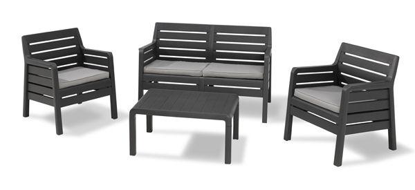 Conjunto mueble jardín resina efecto madera Delano 221538 Curver ...